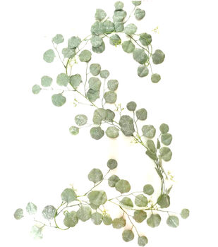 Handmade Holiday Christmas 66'' Glitter Eucalyptus Leaf Garland-Green