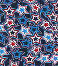 Patriotic Fabric-Clustered Stars Blue Glitter