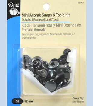 Dritz 12 mm Mini Anorak Snaps And Tools Black
