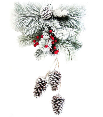 Blooming Holiday Christmas Snowy Pine & Pinecone Wall Swag with Berries