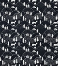Snuggle Flannel Fabric-Black White Hilly Woodland