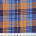 Flannel Shirting Fabric-Blue Navy Grey Squares Plaid