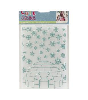 Sara Davies Signature Cute Christmas 5''x7'' Embossing Folder-Icy Igloo
