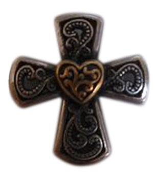 "Concho 1"" Gold On Silver 1/Pkg-Elegant Cross Heart"