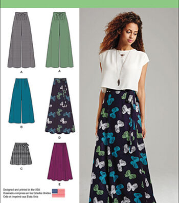 Simplicity Patterns Us1069P5-Simplicity Misses' Wide Leg Pants/Shorts/Skirts/In 2 Lengths-12-14-16-18-20