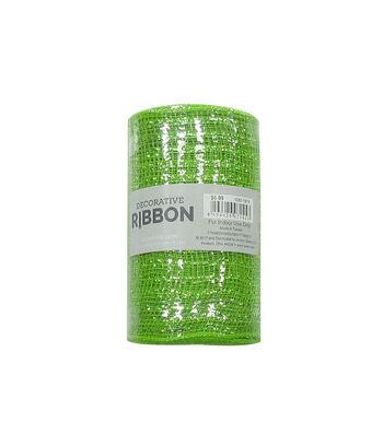 "Decorative Ribbon 5.5""x10yd Metallic Deco Mesh-Lime Green"