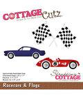 CottageCutz Die-Racecars & Flags .7\u0022 To 2.8\u0022