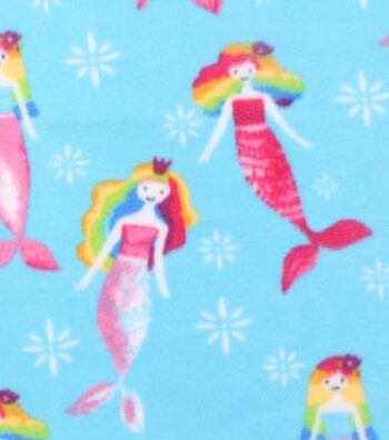 "Anti-Pill Fleece Fabric 59""-Rainbow Mermaids"