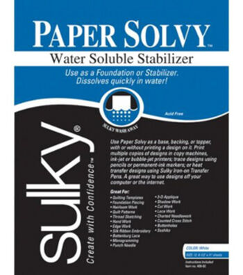 "Sulky Soluble Stabilizer Paper Solvy-8-1/2"" x 11"" 12/Pkg"