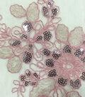 Embroidered Sequin Border Fabric 57\u0022-Peach Skin