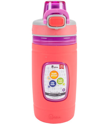 Bubba 16 oz. Flo Kids Water Bottle with Silicone Sleeve-Coral