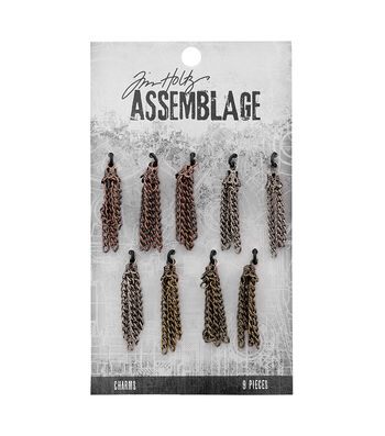Tim Holtz Assemblage Pack of 9 Small Tassels Charms
