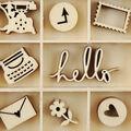 Themed Mini Wooden Flourishes-Hello