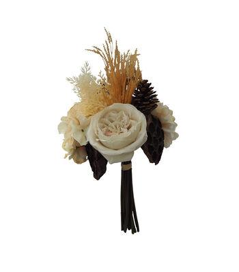 Blooming Autumn Rose, Hydrangea & Pinecone Bouquet-Cream