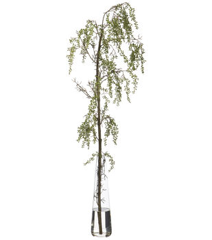 Berry Hanging Branch in Glass Vase 38''-Green