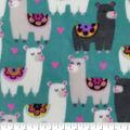 Anti-Pill Plush Fleece Fabric-Floral on Llamas