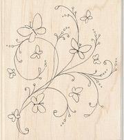 Inkadinkado Butterfly Flourish Wood Mounted Stamp, , hi-res