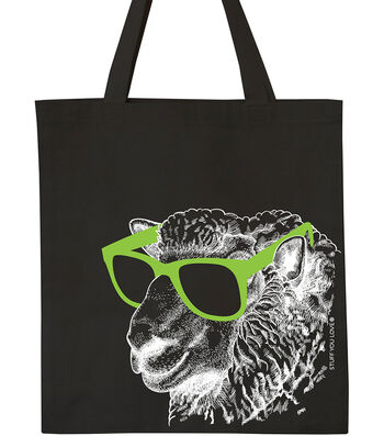 Knit Happy Tote-Cool Sheep with Glasses on Black