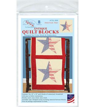 Jack Dempsey Needle Art 6 pk 18''x18'' Antique Quilt Block-American Star