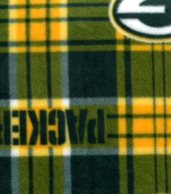 "Green Bay Packers Fleece Fabric 58""-Plaid"