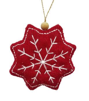 Handmade Holiday Christmas Alpine Lodge Snowflake Ornament