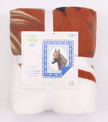 "48"" No Sew Fleece Throw- Portrait Of A Horse"
