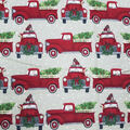 Super Snuggle Flannel Fabric-Red Truck & Christmas Tree