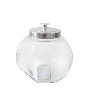 Fab Lab Craft Large Decorative Tilt Glass Jar with Suction Lid