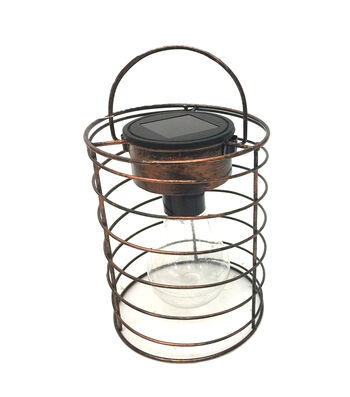 Hello Spring Straight Cage Solar Hanging Lantern-Bronze