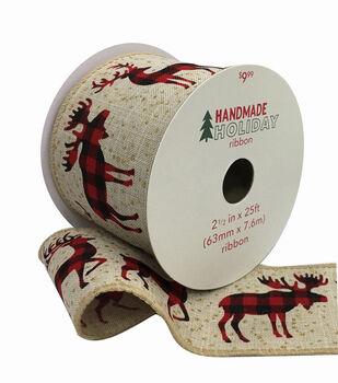 Handmade Holiday Ribbon 2.5''x25'-Checked Deer & Moose on Natural