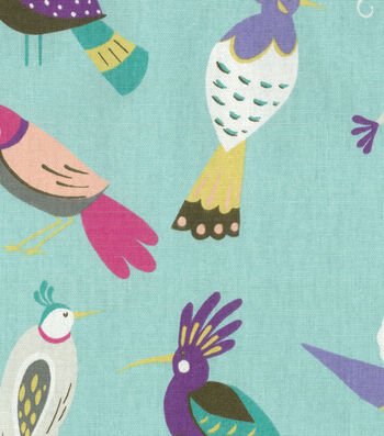 "Home Essentials Decor Fabric 45""-For The Birds Aquamarine"