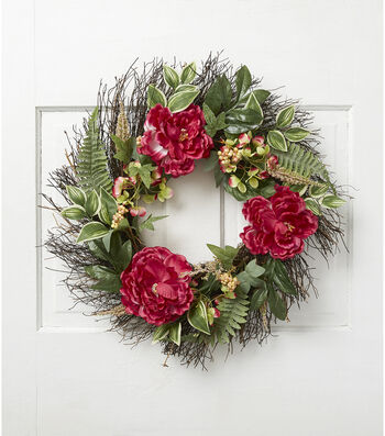 Fresh Picked Spring 24'' Peony & Hydrangea Mixed Wreath