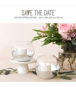 Save the Date 4 pk 3.5''x3.5'' Glass Silver Dipped Votives