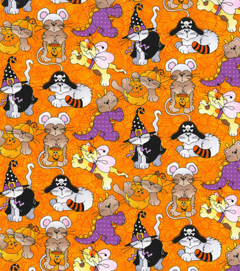 "Halloween Cotton Fabric 44""-Cat Costume Party"