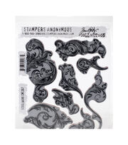 Tim Holtz Cling Stamps 7''X8.5''-Scrollwork, , hi-res