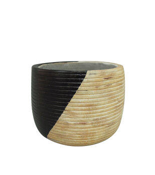 In the Garden Striped Cement Planter-Black & Natural