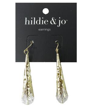 hildie & jo 2''x0.38'' Gold Earrings-Oblong Rhinestone Drop