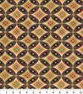 Asian Inspired Cotton Fabric 44\u0022-Interlocking Circles Met