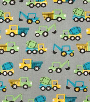 Super Snuggle Flannel Fabric-Blue & Green Construction Truck