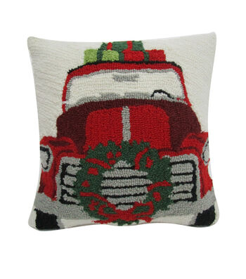 Maker's Holiday Christmas Pillow-Red Truck
