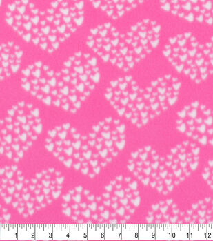 Valentine's Day Blizzard Fleece Fabric-Cluster Hearts on Pink