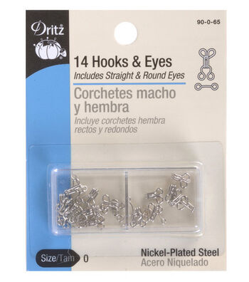 Dritz Hooks & Eyes Size 0 14/Pkg-Nickel Size 0