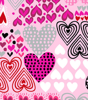 Anti-Pill Fleece Fabric 59''-Hearts