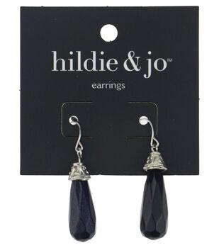 hildie & jo Silver Dangle Earrings-Black Drop