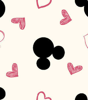 Disney Mickey Mouse Knit Fabric 58''-Mickey with Hearts