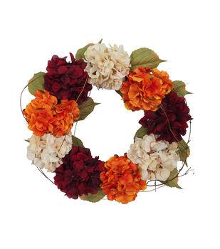 Blooming Autumn Hydrangea Wreath-Burgundy & Cream
