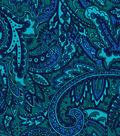 Sportswear Corduroy Fabric 55\u0022-Teal Paisley