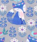 Anti-Pill Fleece Fabric -Aztec Fox On Gray