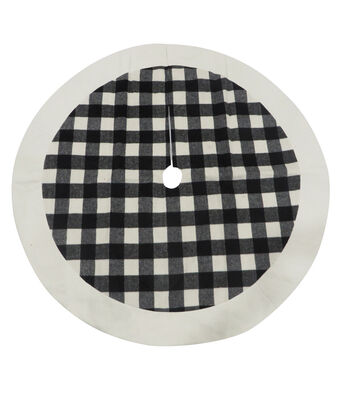 Maker's Holiday Christmas 25''x12'' Tree Skirt-Black & White Plaid