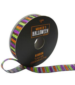 Maker's Halloween Decor Glitter Ribbon 5/8''x9'-Multi Stripes
